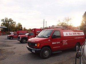 A few of our service trucks getting ready for a days work